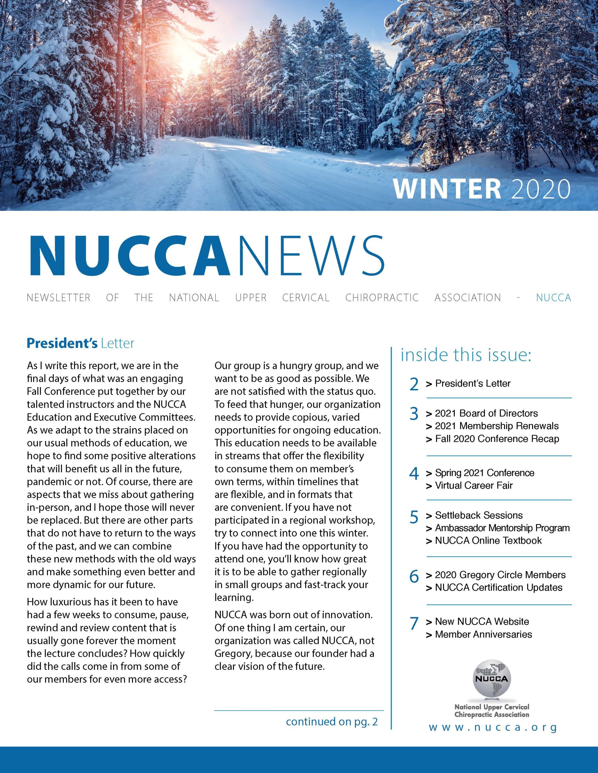 NUCCA_Winter2020_FrontPage