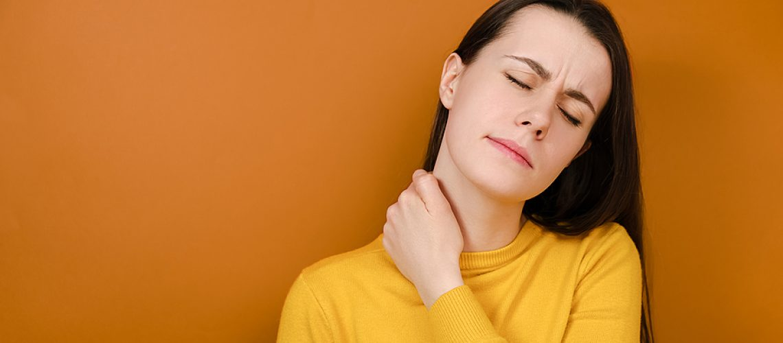 Displeased Young Woman Feeling Stiff Sore Neck Pain Concept